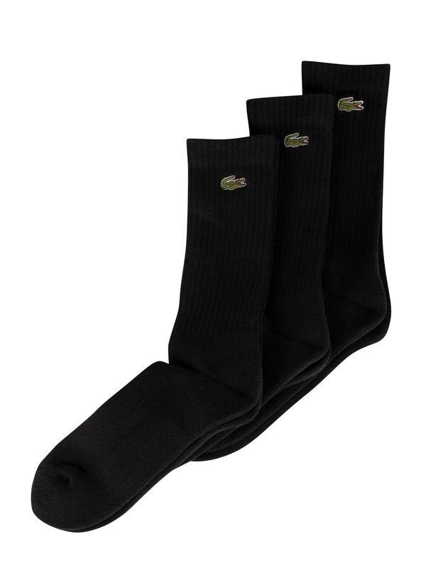 Lacoste 3 Pack Sport High Cut Socks - Black