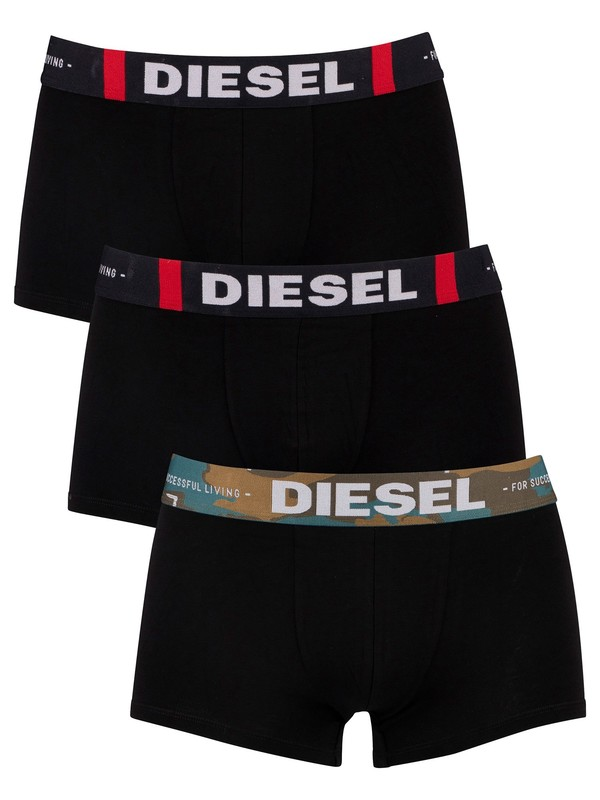 Diesel 3 Pack Cotton Stretch Trunks - Black
