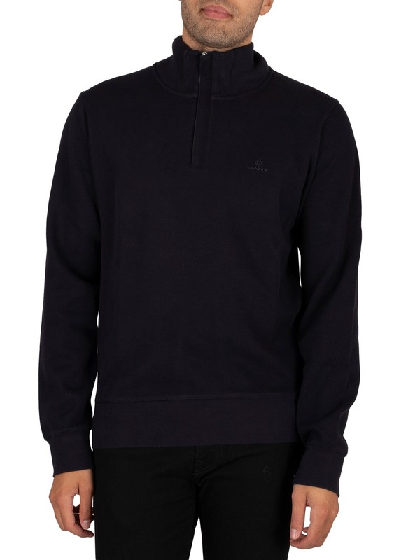 GANT Sacker Rib Half Zip Sweatshirt - Navy