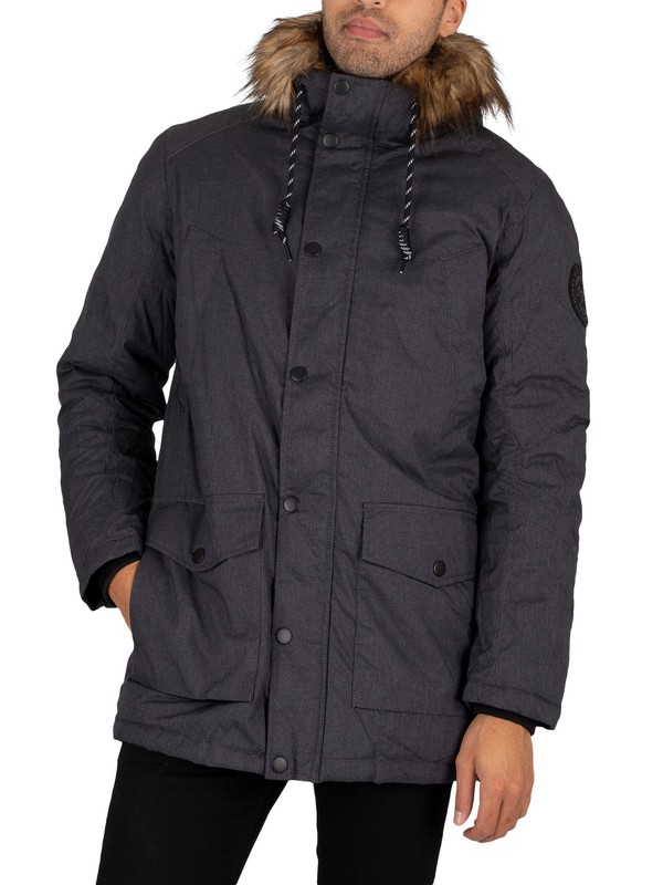 Jack & Jones Sky Parka Jacket - Dark Grey Melange