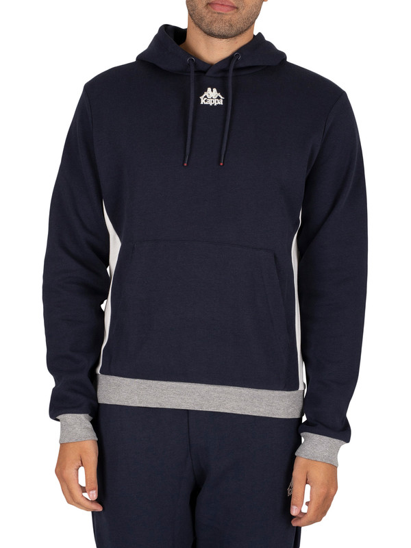 Kappa Igname Slim Pullover Hoodie - Blue Navy/Natural Grey