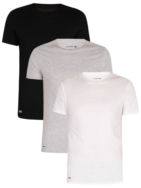 Lacoste Essentials Lounge 3 Pack Slim Crew T-Shirts - White/Grey/Black