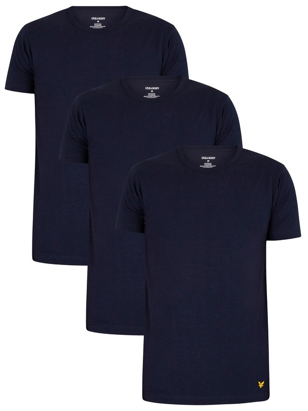 Lyle & Scott Maxwell Lounge 3 Pack Crew T-Shirts - Peacoat