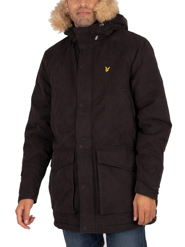 Lyle & Scott Winter Weight Microfleece Lined Parka Jacket - Jet Black