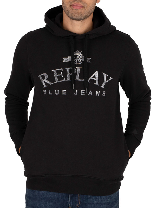 Replay Graphic Pullover Hoodie - Black