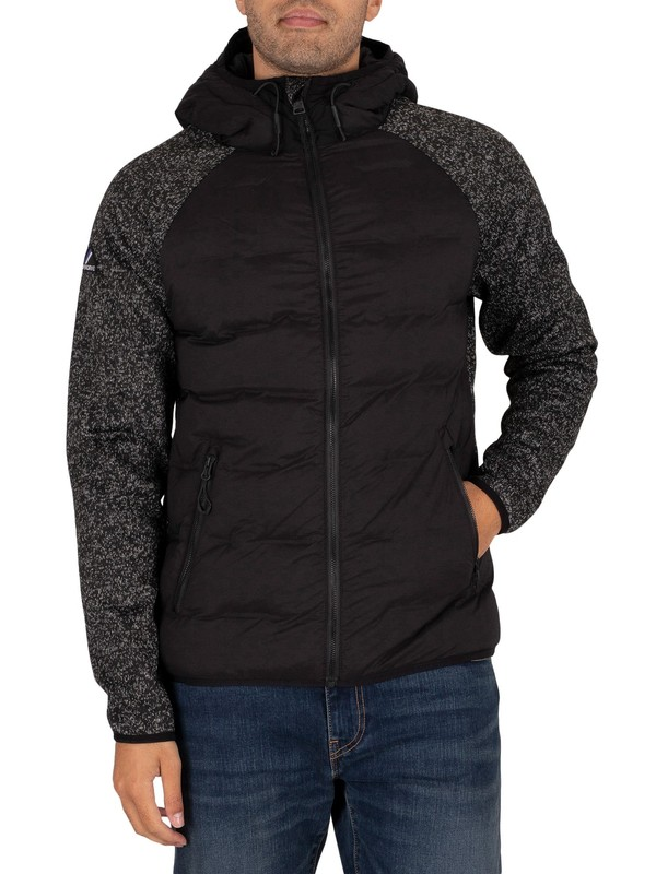 Superdry Sonic Hybrid Zip Thru Jacket - Black Grit