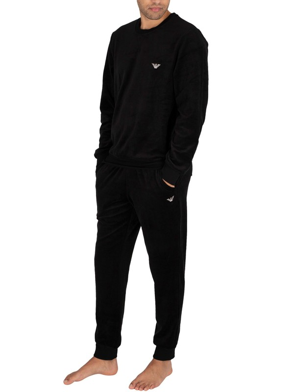 Emporio Armani Knitted Lounge Tracksuit - Black