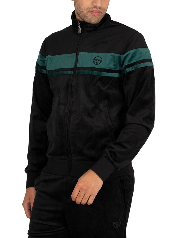 Sergio Tacchini Damarino Velour Track Jacket - Black/Botanical