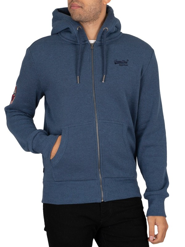Superdry Winter Zip Hoodie - Box Navy Birdseye
