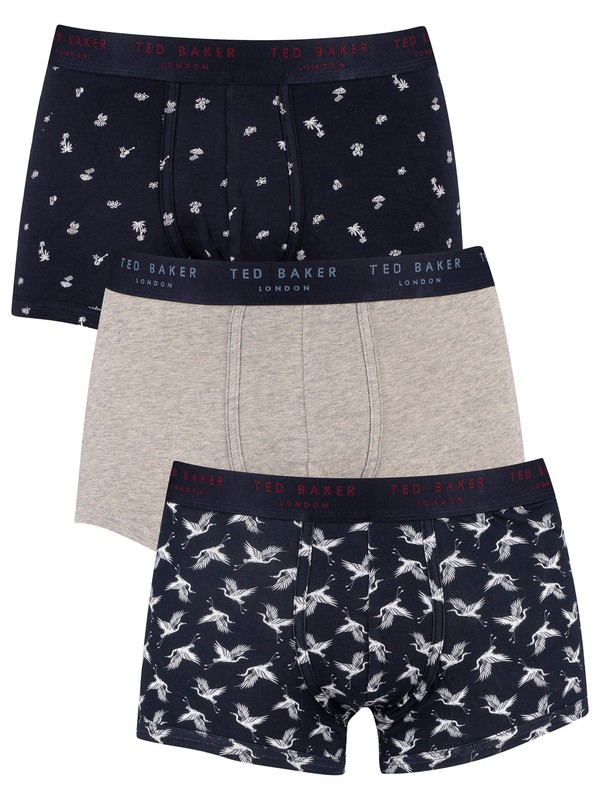 Ted Baker 3 Pack Fitted Trunks - Sky Captain Craine/Grey Heather/Navy Lulau