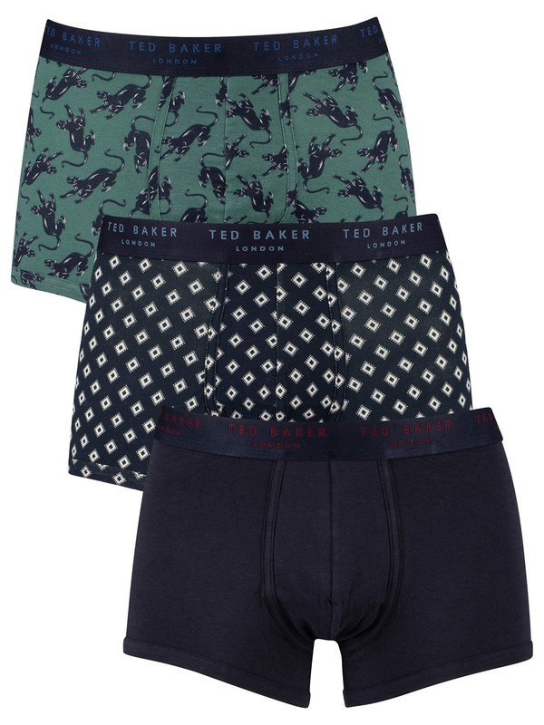 Ted Baker 3 Pack Fitted Trunks - Pantera/Aqua Diamond/Sky Captain