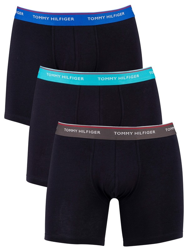 Tommy Hilfiger 3 Pack Trunks - Dark Ash/Aquatic Teal/Electric Blue
