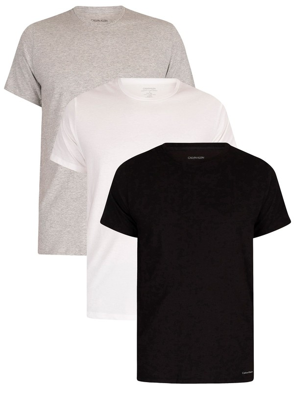 Calvin Klein 3 Pack Lounge Crew T-Shirts - Black/White/Grey Heather