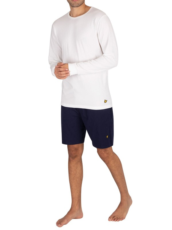 Lyle & Scott Hugo Longsleeved Pyjama Set - White/Peacoat