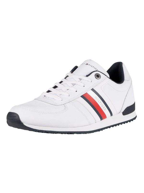 Tommy Hilfiger Iconic Mix Runner Leather Trainers - White