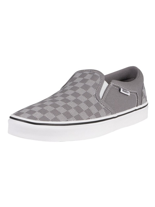 Vans Asher Checker Dot Canvas Trainers - Frost Grey/White
