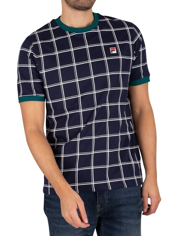 Fila Slate Window Pane Print Ringer T-Shirt - Peacoat