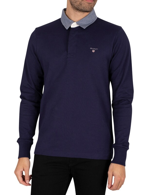 GANT The Original Heavy Rugger Longsleeved Polo Shirt - Evening Blue