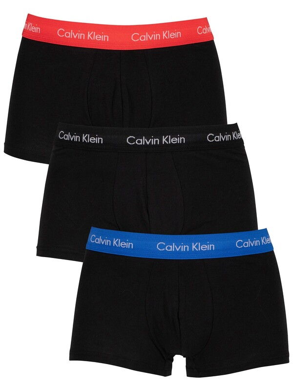 Calvin Klein 3 Pack Low Rise Trunks - Blue/Strawberry Field/Black
