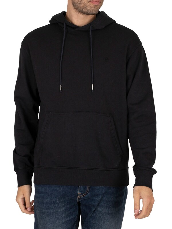 Jack & Jones Washed Pullover Hoodie - Black