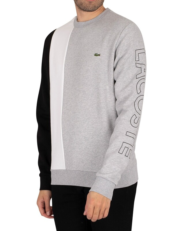 Lacoste Lettered Colourblock Fleece Sweatshirt - Grey Chine / White / Black