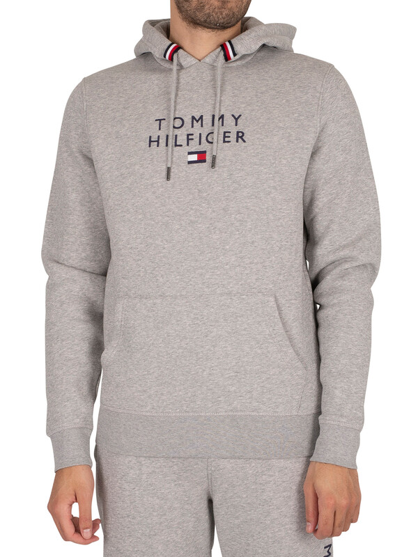 Tommy Hilfiger Stacked Flag Pullover Hoodie - Medium Grey Heather