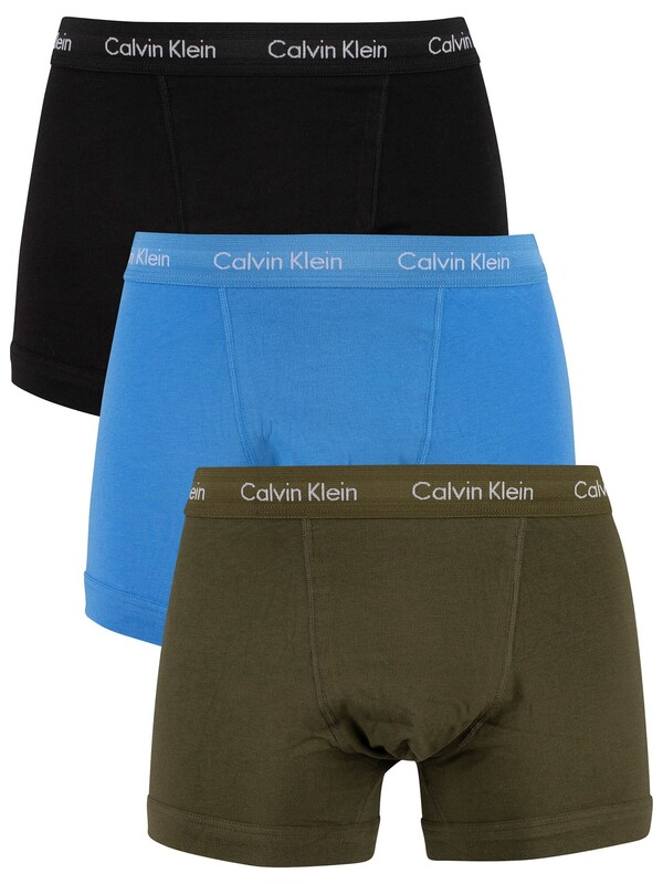 Calvin Klein 3 Pack Trunks - Dusk Green/Copenhagen Blue/Black
