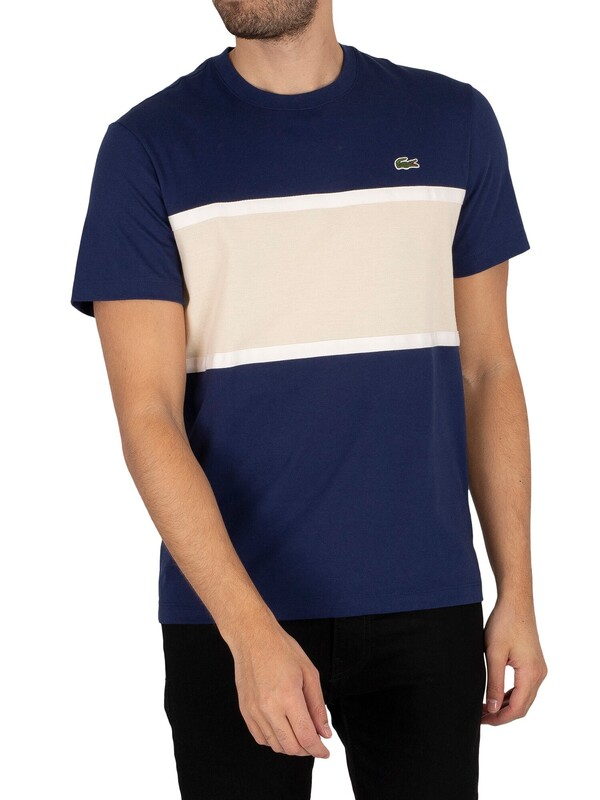 Lacoste Panel T-Shirt - Navy/Beige